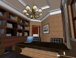 高档古典风格书房3D模型下载