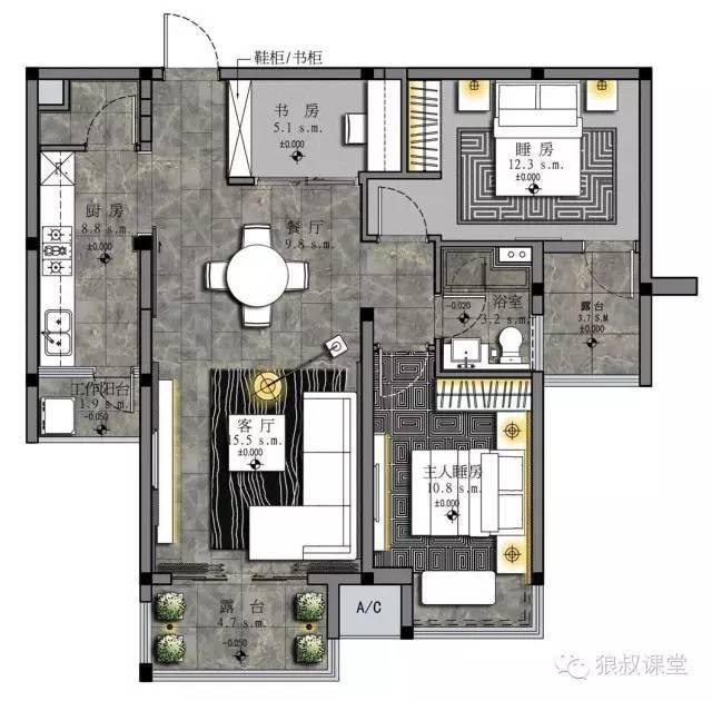 PS彩色平面图教程(室内设计必学技能)