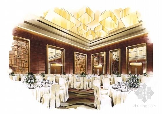 [广东]全球连锁豪华欧式风格商务酒店设计方案宴会厅效果图