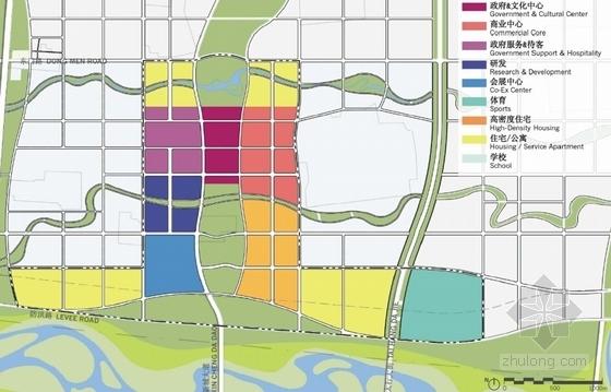 现代风格城市新区概念性规划分析图