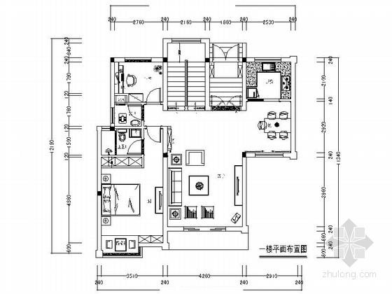 [江西]独栋别墅区新中式风格三层别墅装修施工图(含效果)