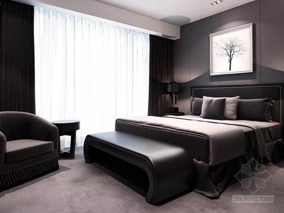 vr材质下载资料下载-简约卧室3d模型下载