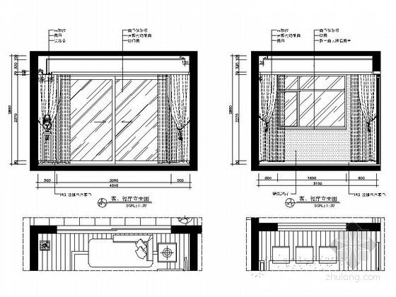 [广西]简欧风格四居室样板房装修图(含效果)客厅餐厅立面图