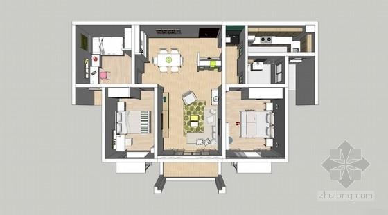 [河南]某花园小区样板房室内设计方案图