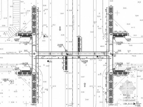 [安徽]城市道路工字型钢箱梁人行天桥全套施工图设计102张(含交通 管线 附属设施)