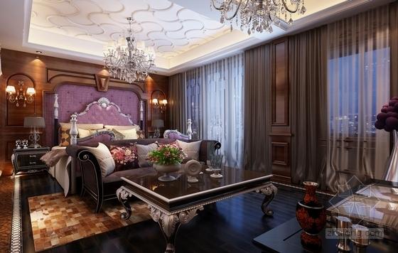 [江苏]欧式豪华顶尖独栋别墅CAD施工图(含效果图)卧室效果图