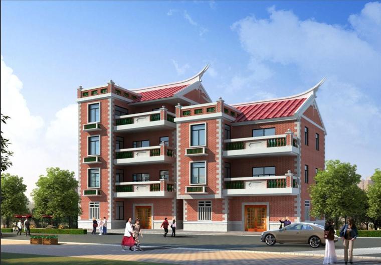 [福建]四层坡地住宅建筑立面改造及平改设计方案图