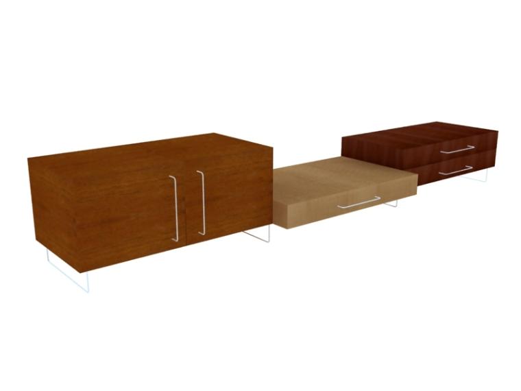 简单组合电视柜3D模型下载