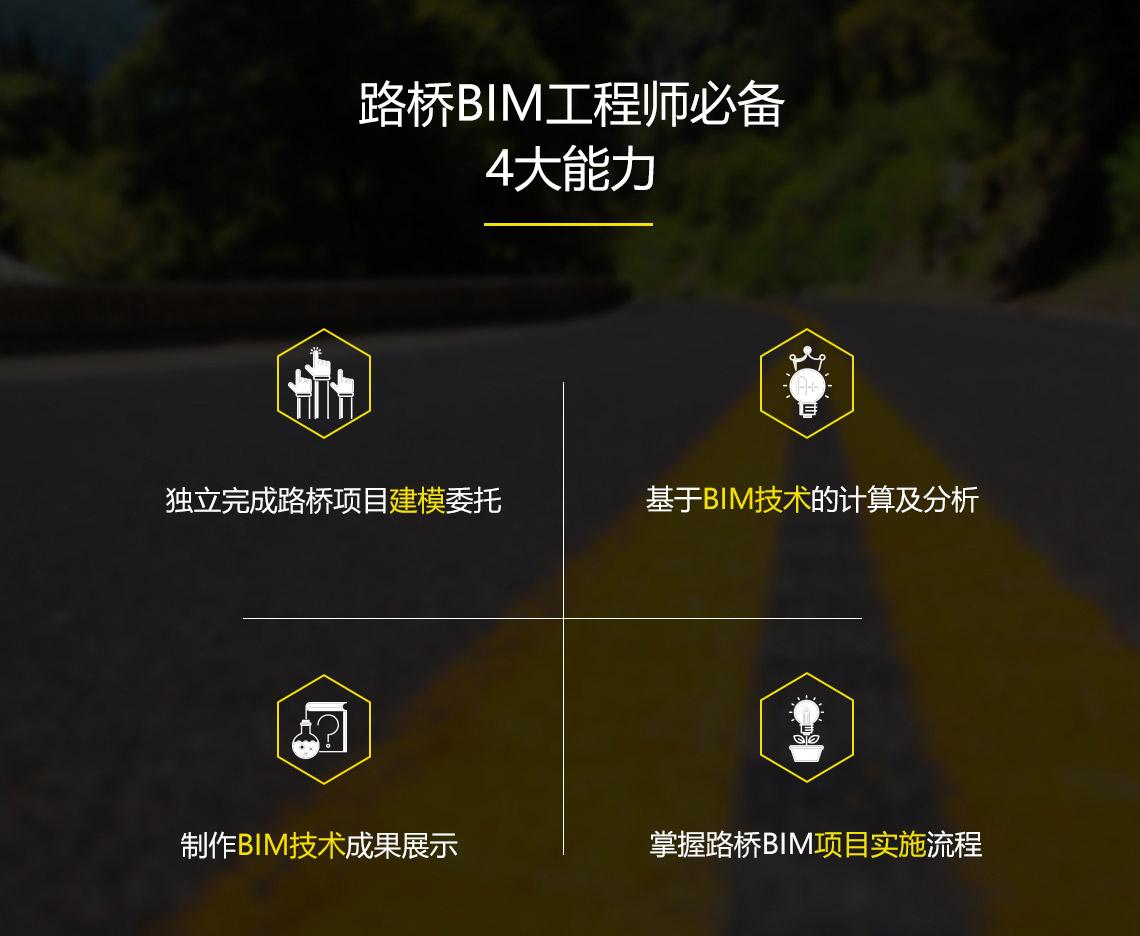 路桥BIM工程师必备4大能力,独立完成项目建模委托,基于路桥BIM的项目建模及分析,独立制作路桥BIM项目成果展示,掌握路桥BIM项目实施流程。