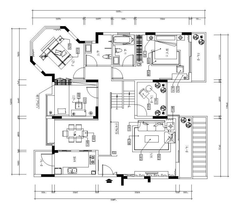 后现代风格三室二厅施工图设计(附效果图)