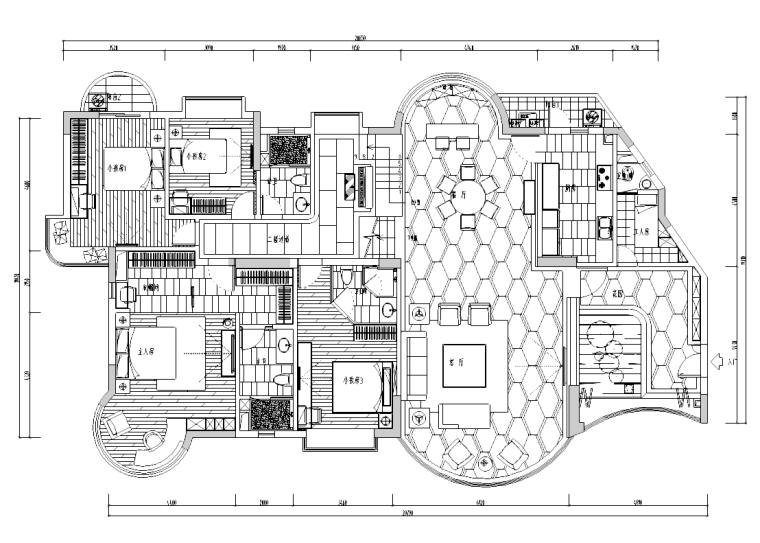 [陕西]西安怡宝花园别墅室内设计施工图及效果图