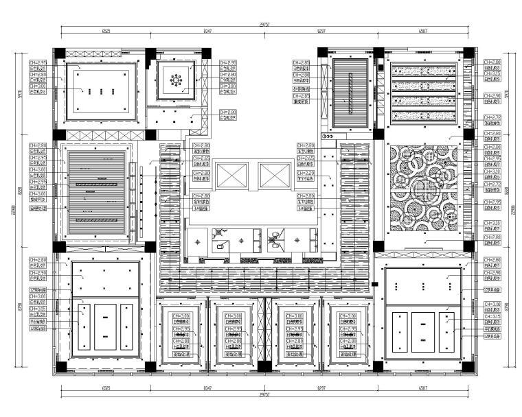 [山东]混搭--黄海城市花园七层办公平面装修施工图+效果图-天花材料分析平面详图
