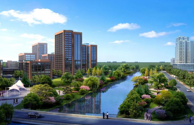 [湖南]生态海绵城市雨水环保科技工业产业园区景观设计方案(2016最新)-滨湖景观效果图