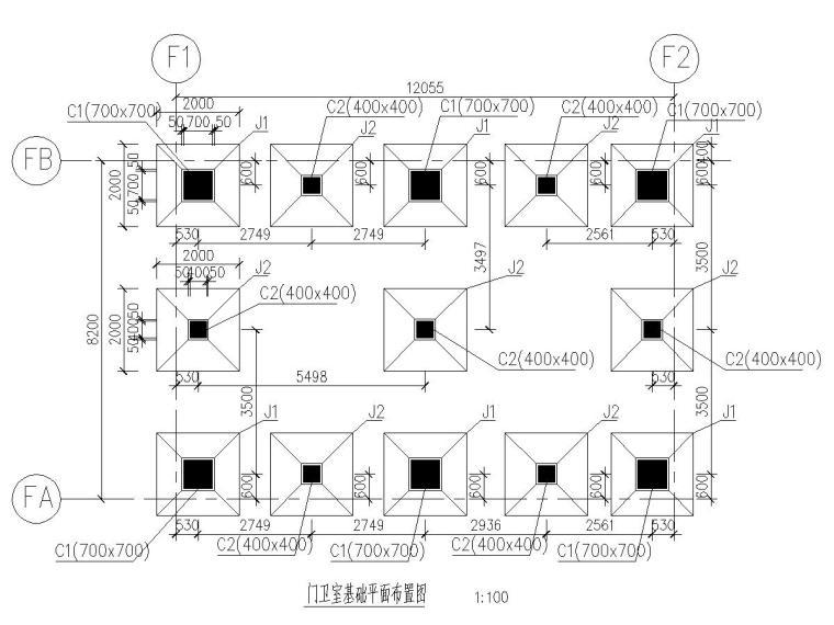 钢结构门卫室结构施工图(节点图详细)
