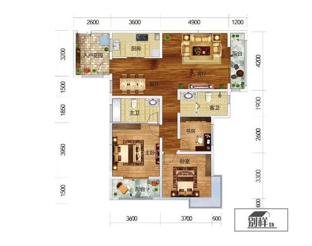 昆明第三城紫曼园K3户型119㎡简约风格装修案例