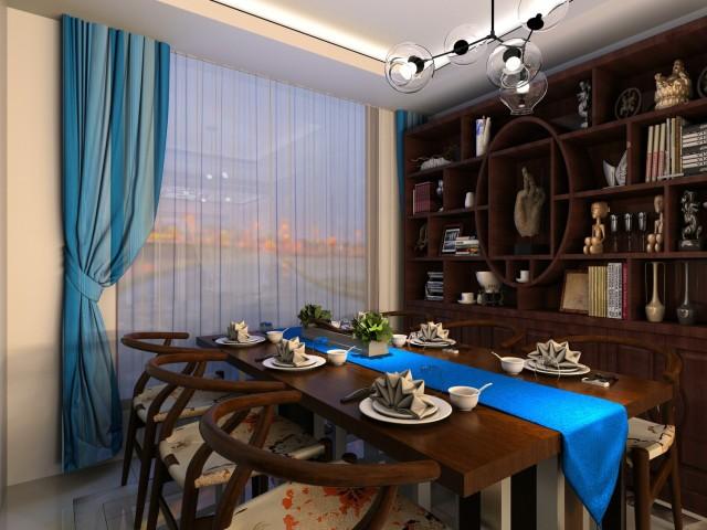 新中式魅蓝轩120平效果图-新中式《魅蓝轩》第1张图片