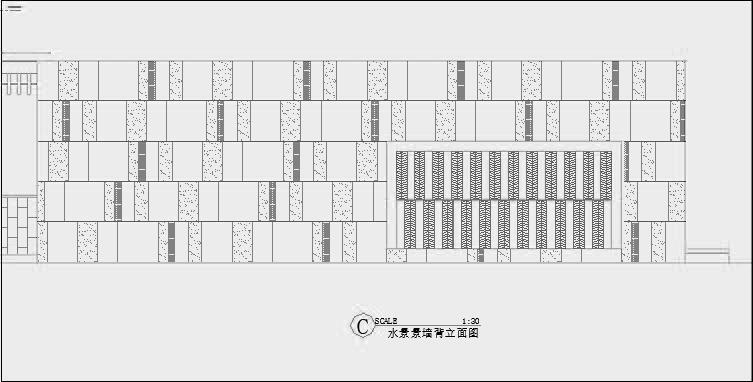 四川成都金色海蓉景观设计施工图-设计详图水景景墙背里面图