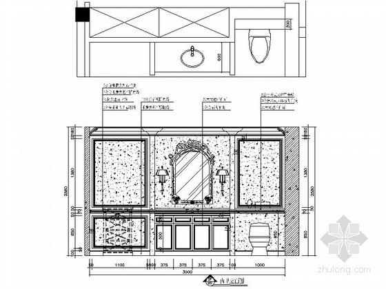 [上海]鸟语花香古典欧式风格独栋别墅样板间装修施工图(含高清实景)卫生间立面图