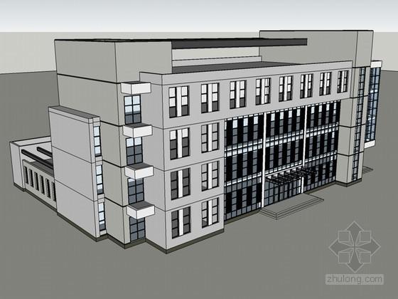 简单办公建筑SketchUp模型下载-简单办公建筑
