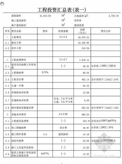 北京某办公楼投资估算实例(2010-12)