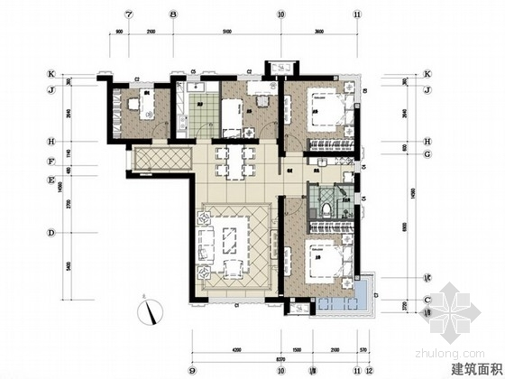 [涿州]风景优美欧式新古典主义四居室室内设计方案