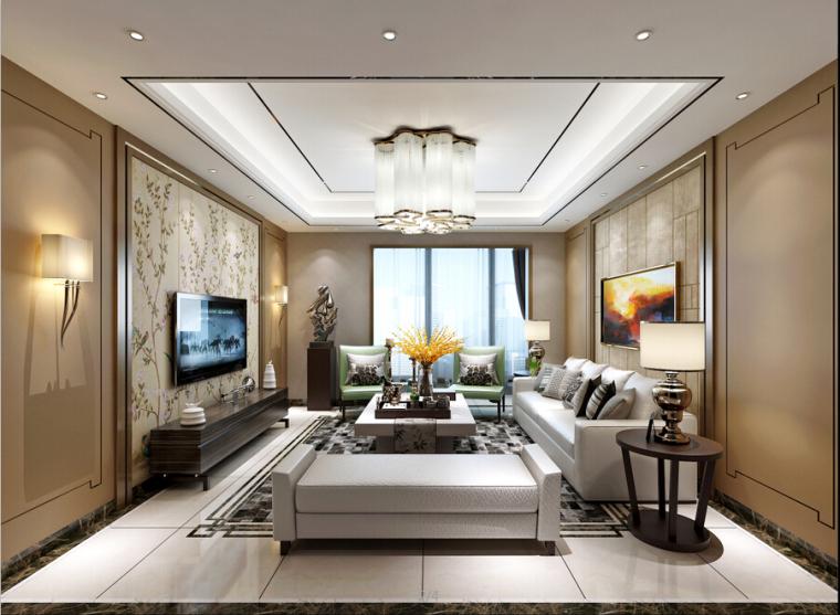 现代中式家装设计方案效果图(含3D模型)_1