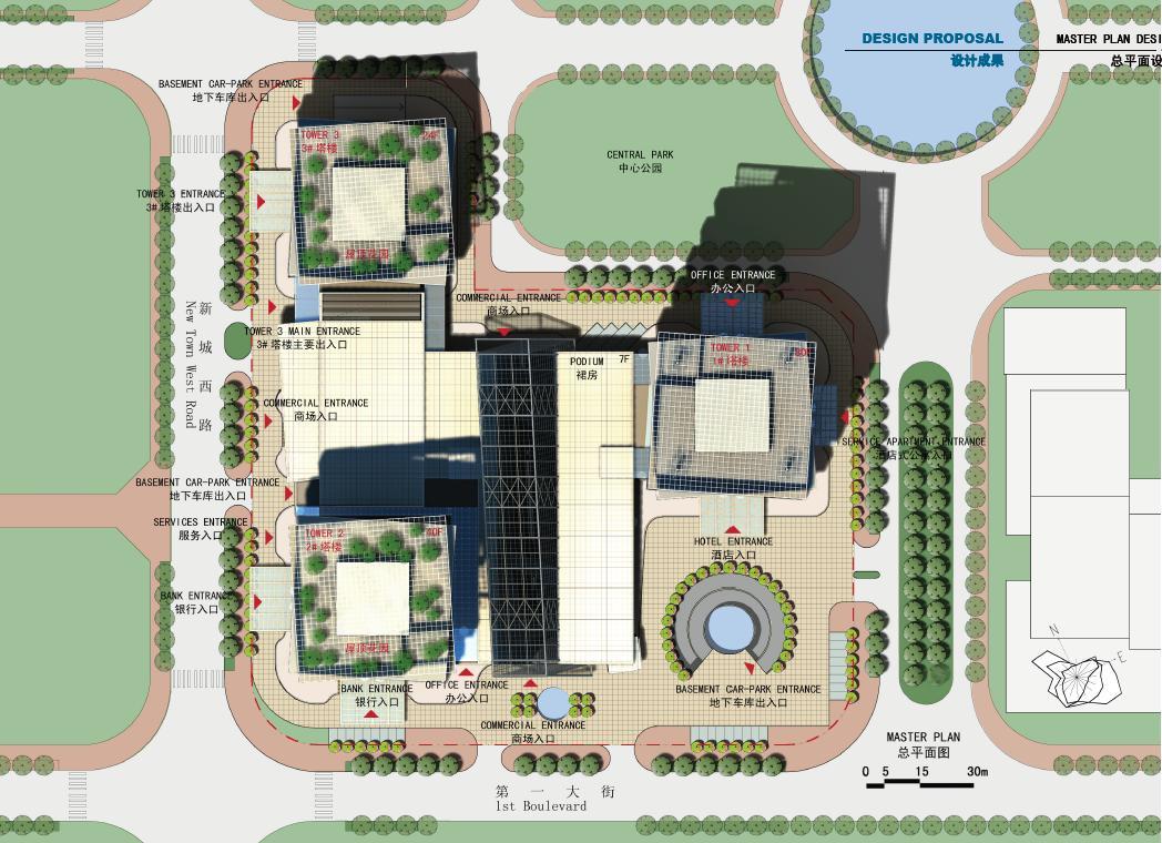 超高层现代风格塔楼商业综合楼建筑总平面图