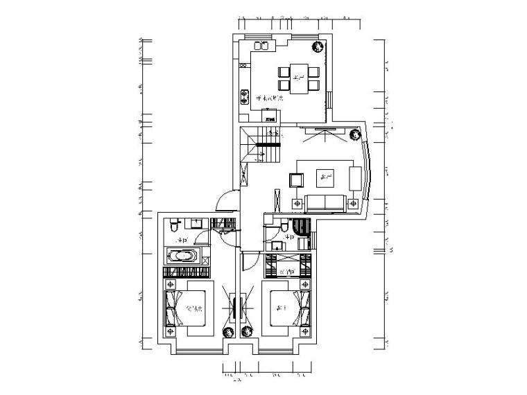 欧式风格-整套复式楼设计CAD施工图(含效果图)