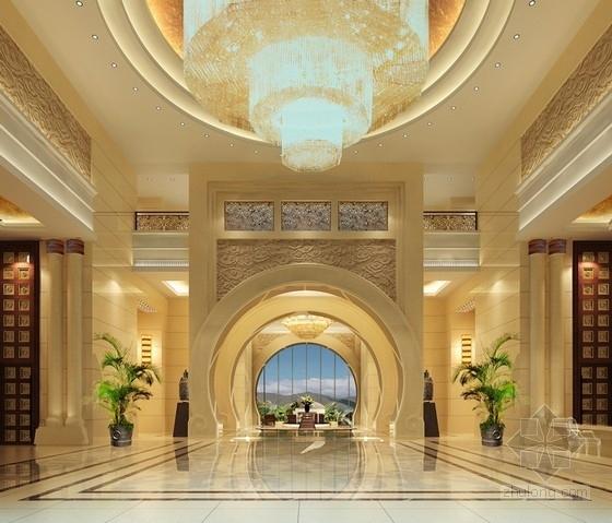 [河北]奢华古典山水园林式宾馆精装修设计方案图大堂效果图