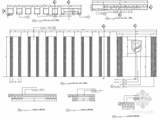 [浙江]细致典雅艺术居住区景观施工图(图纸丰富)-入口标识景墙详图