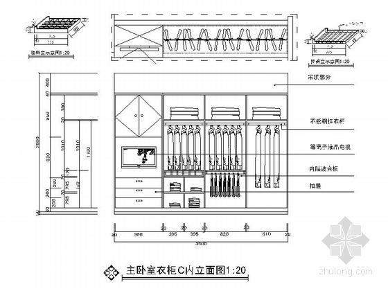 [广州]世纪广场典雅四居室样板间装修施工图主卧衣柜立面图