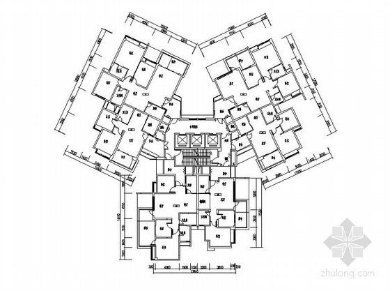 高层住宅一梯六户型图(87-138平方米)