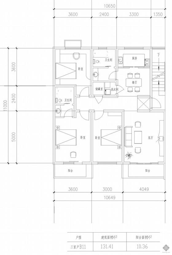 板式高层三室一厅单户户型图(131.41)
