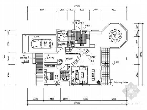 某二层独栋别墅户型图(西入口、281平方米)