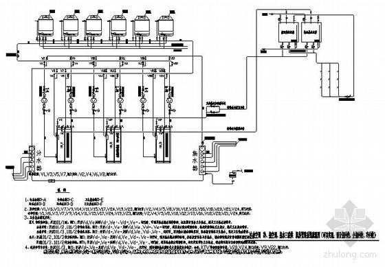 中央空调冷、暖、热水三联供机房管路系统图