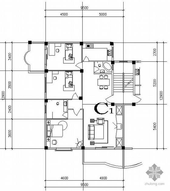 三室一厅一卫有跃层单户户型平面图(总89.6)