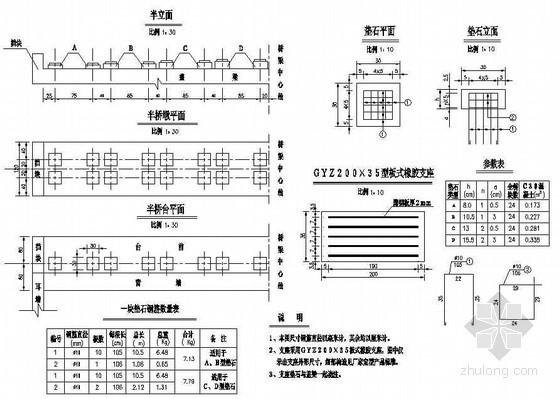 10米简支空心板支座及垫石构造节点详图设计