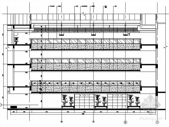 [江苏]独创哲学社会科学研究机构学院新校区图书馆装修施工图(含效果)中庭立面图