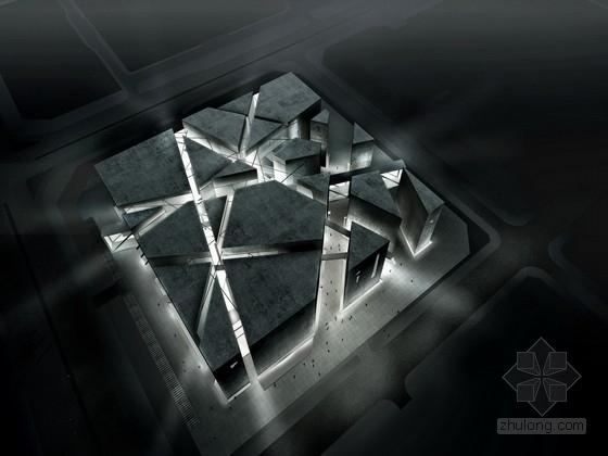 [广东]多层巨型筒体结构切割形态现代艺术展览馆建筑设计方案文本(含CAD)