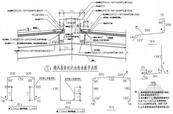 压型钢板屋面通风屋脊处泛水收边板节点做法详图