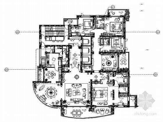 [上海]花园洋房现代五居室样板房装修图