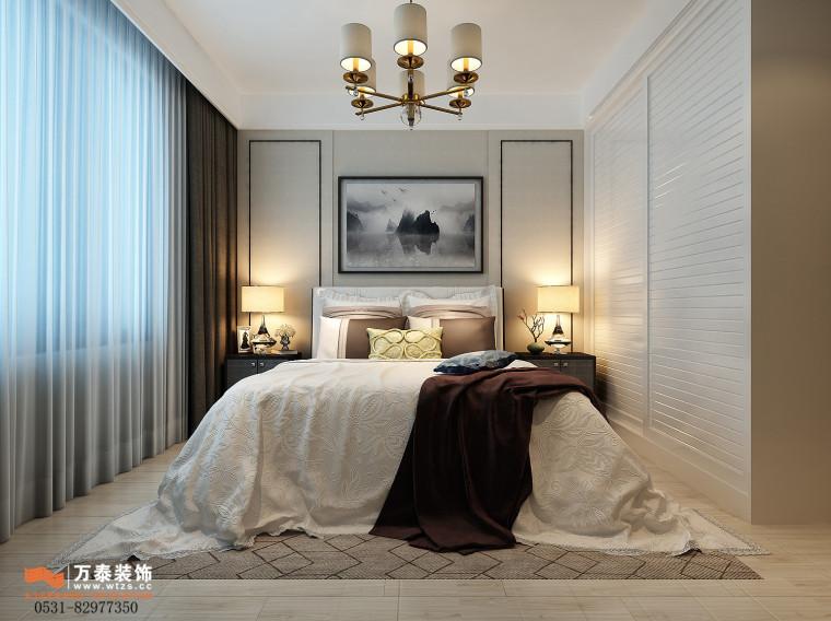 领秀公馆120平三室两厅装修,新中式风格真的很漂亮-主卧2.jpg
