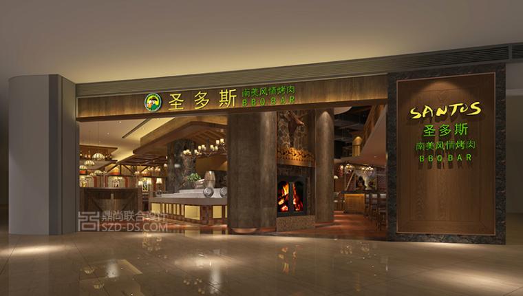 圣多斯南美烤肉西餐厅美式休闲风格设计效果图(深圳KK ONE店)