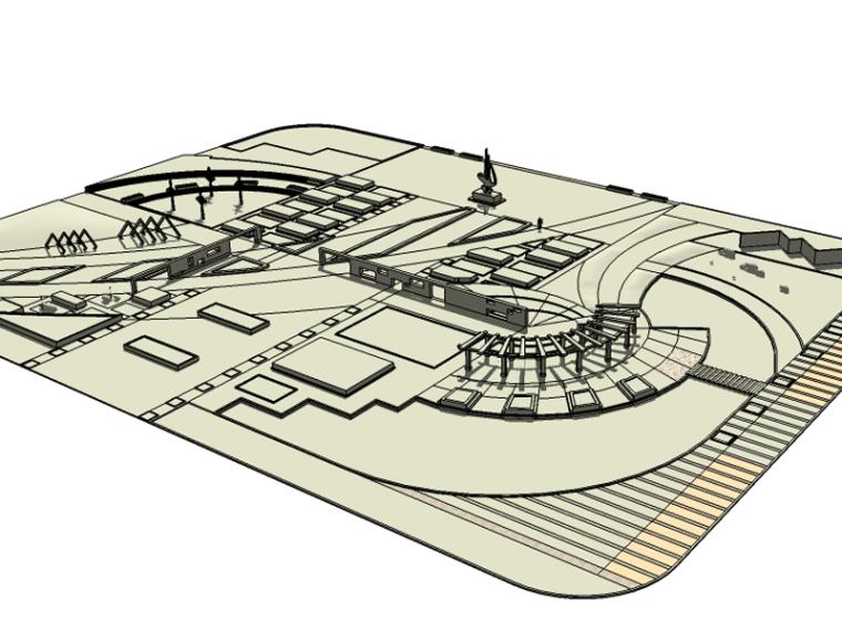 新中式公園景觀su模型(素模,水景,中國結,景觀廊)