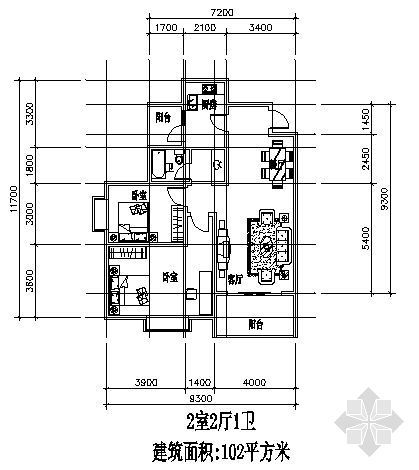 兩室兩廳一廚一衛102平方米