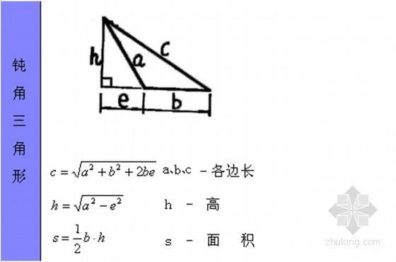各类不规则图形计算公式汇总(含图例)