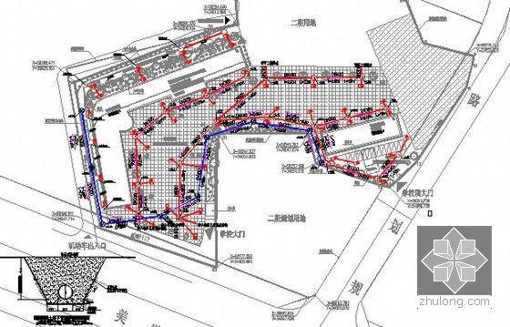 [广东]2015年校园广场及绿化附属工程预算书(附施工图纸)-排水规划图