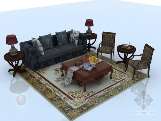 复古欧式沙发3D模型下载