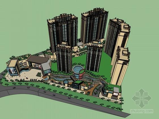 商业广场大厦SketchUp模型下载