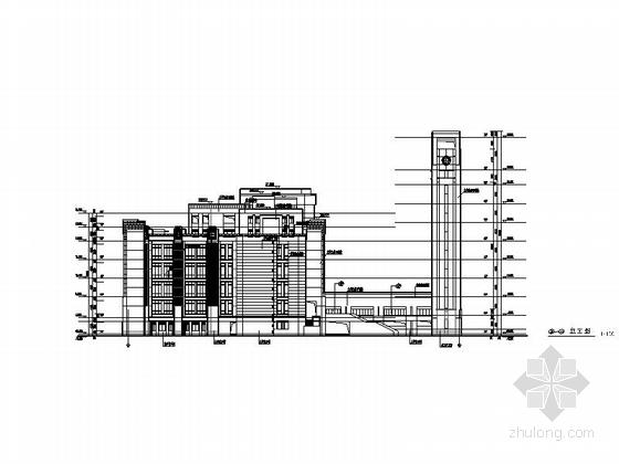 [上海]现代风格大学图书馆建筑施工图(甲级设计院含人防设计)-现代风格大学图书馆建筑立面图